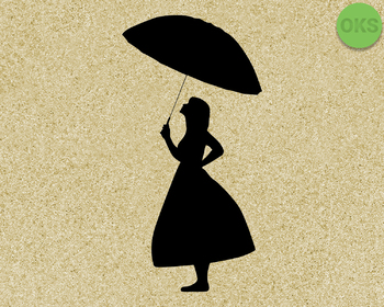 girl with umbrella SVG cut files, DXF, vector EPS cutting file instant download