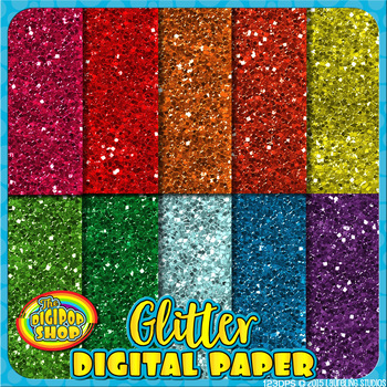 glitter digital paper- printable texture in rainbow colors