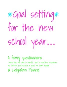 goal setting for the new school year