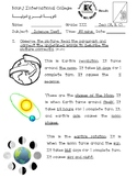 grade 3 space test rotation , revolution, phases of the moon