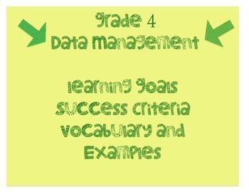 grade 4 data management learning goals & success criteria