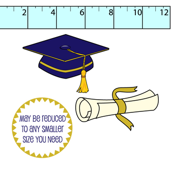 graduation clipart// grad cap, diploma .png in popular school colors, grayscale