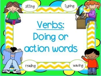 grammar adjective, verb, and noun task cards