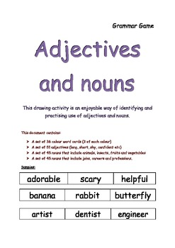 grammar game for adjectives and nouns