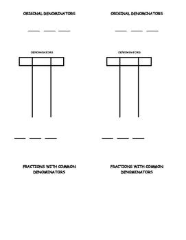 graphic organizer for finding common denominators