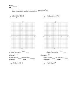 graphing quadratic equations in vertex form