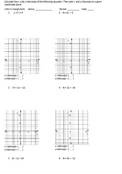 graphing using x and y intercept worksheet