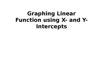 graphing using x and y intercepts
