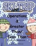 greater than less than kindergarten, first, second, Ski Trip Winter