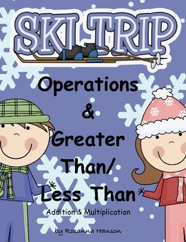 greater than less than kindergarten, first, second, Ski Trip Winter
