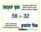 greater than/mayor que prim 1-way blue/verde
