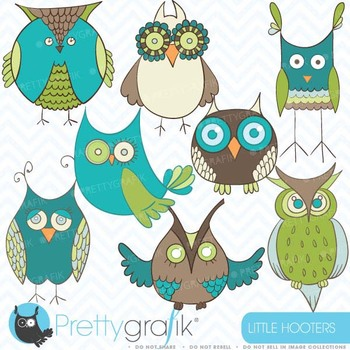 green owl clipart commercial use, vector graphics, digital clip art - CL404