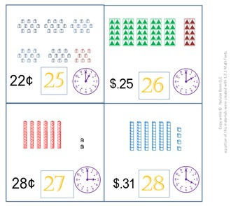 K, 1st, or 2nd Grade Math Calendar - Time, Money, Tens and Ones