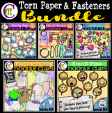 Fasteners and Torn Paper Clipart BUNDLE