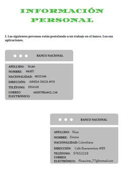 guía información personal / personal information in spanish