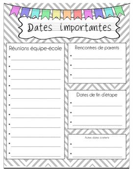 guide planificateur : dates à retenir
