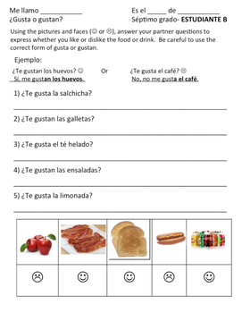 gusta o gustan? Partner work with Foods