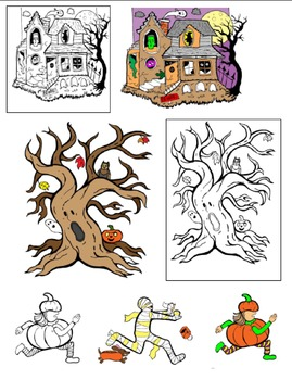 Haunted House, Spooky Tree, and Trick-or-Treater Commercial Clip Art