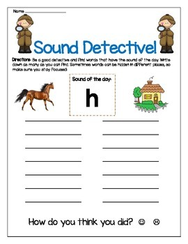 h sound Write the Room Center Worksheet