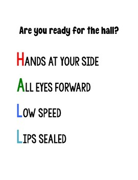 hall classroom management poster