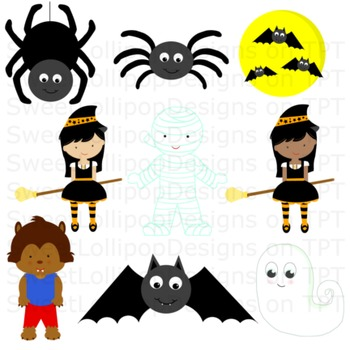 halloween clip art - halloween clipart -witch mummy werewolf ghost spider bat