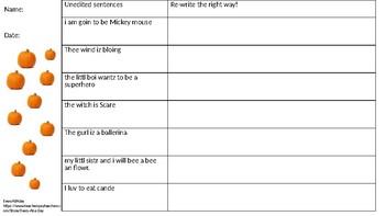 halloween editing sentences (5 days)
