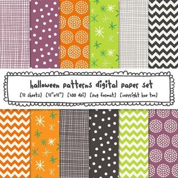 Halloween Patterns Digital Backgrounds, Digital Resource f