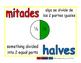 halves/mitades meas 1-way blue/rojo