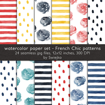 hand painted backgrounds,watercolor stripes, roses, dots, french chic collection