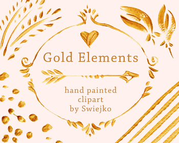 hand painted gold elements, brush strokes, hearts, flowers, frames