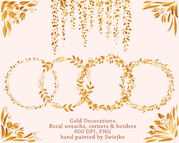 hand painted gold elements, floral corners, flowers, frames, borders