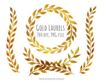 hand painted gold elements, gold wreath, laurel wreath