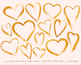 hand painted gold hearts, heart frame, decoration, valentines day, love, wedding
