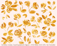 hand painted gold roses, flowers, golden clipart