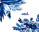hand painted indigo flowers, frames and bouquets, wreaths