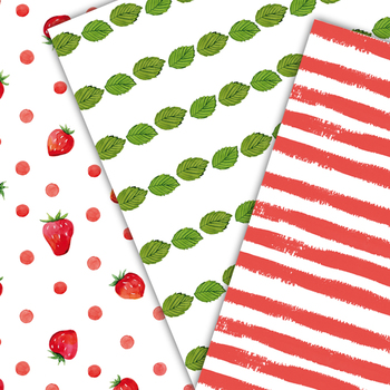 hand painted scrapbooking papers, strawberries, leaves, stripes, background