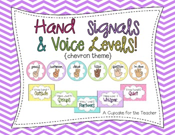Hand Signals & Voice Levels! {Chevron Theme} by A Cupcake ... Quiet Signal For Teachers