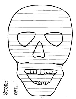 happy halloween--- spooky skull writing paper with cover