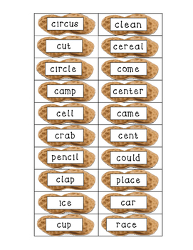 hard c and soft c word sort. When  c says s.