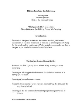 Harry Potter and the Goblet of Fire Lesson Plan