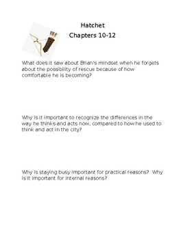 hatchet chapters 10-12