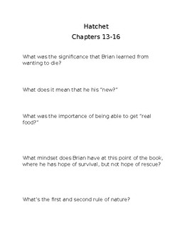 hatchet chapters 13-16