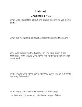 hatchet chapters 17-19