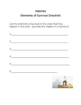 hatchet elements of survival check list