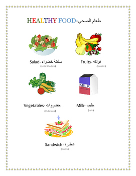 healthy and unhealthy food in arabic