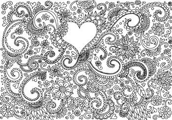 heart flower coloring sheet