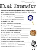 heat transfer: convection, conduction and radiation worksheet
