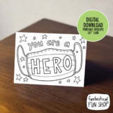 hero card coloring activity, letter writing, thank you card, essential worker