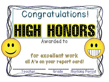 high honors honor roll certificate print and go EMOJI COLOR ...