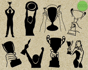 holding a trophy SVG cut files, DXF, vector EPS cutting file instant download